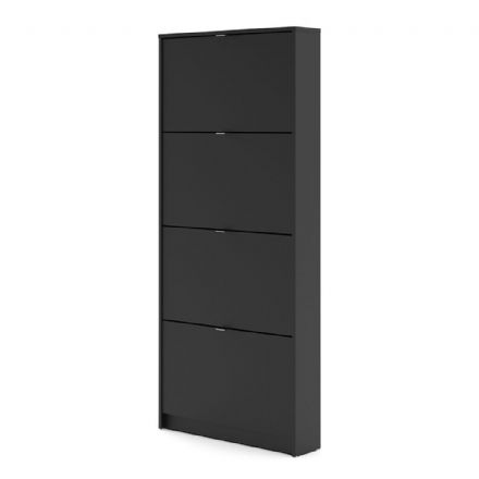Shoes Shoe cabinet w. 4 tilting doors and 1 layer in Matt Black